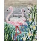 stramin + garnpaket, flamingo's (100% wolle)
