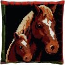 kreuzstichkissen paard met veulen