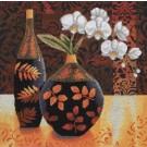 stickpackung stilleben, vaas/bloemen met fles