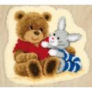 knüpfdecke beer met konijn