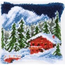 knüpfkissen berglandschap in wintersfeer