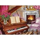 stramin + garnpaket, pianoscene met rozen